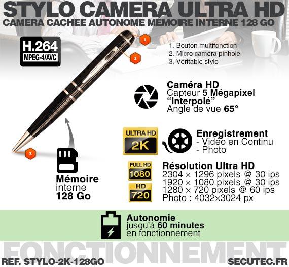 Stylo caméra cachée HD 2K - Caractéristiques