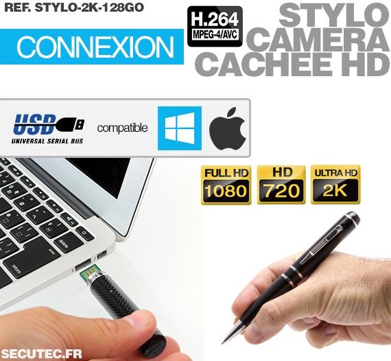 Stylo caméra cachée HD 2K - Connexion PC