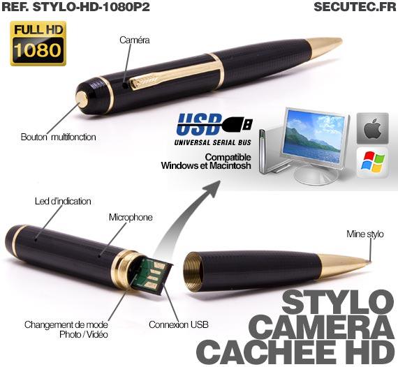 utilisation de la caméra espion dans un stylo