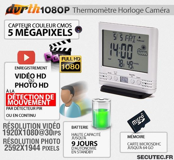 Thermomètre Horloge caméra cachée FHD 1080P autonome