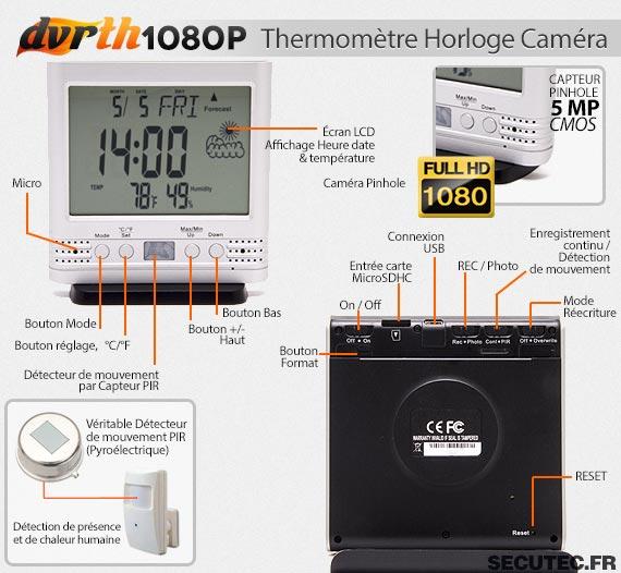 Thermomètre Horloge caméra cachée FHD 1080P caractéristiques