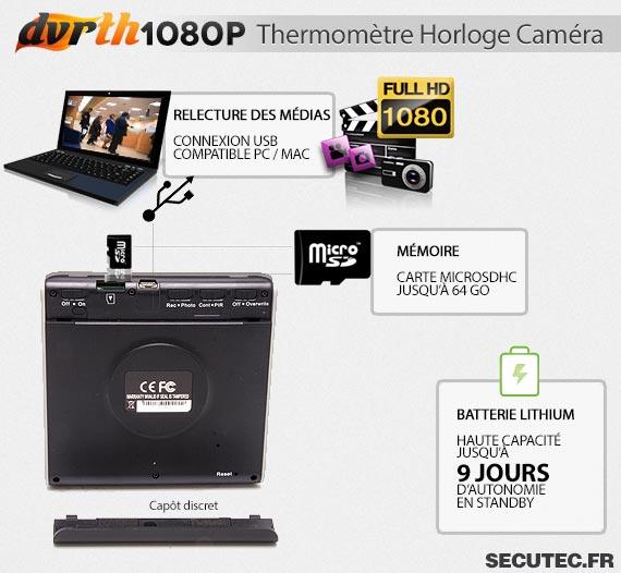 Thermomètre Horloge caméra cachée FHD 1080P connexion