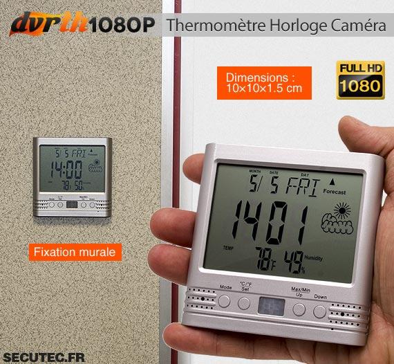 Thermomètre Horloge caméra cachée FHD 1080P dimensions