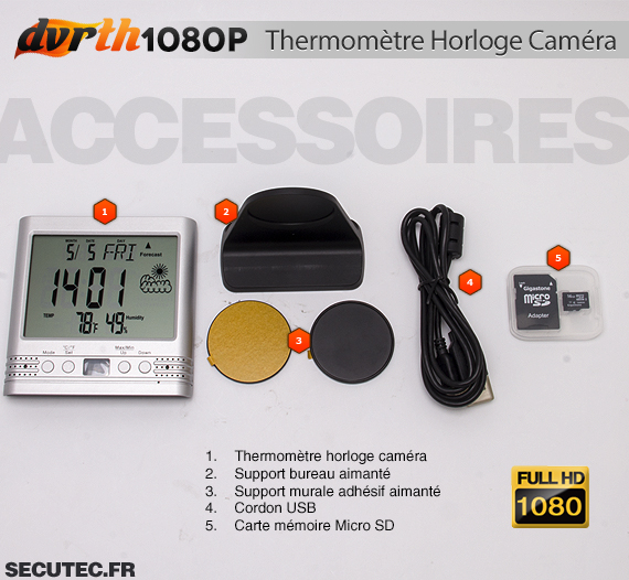 Thermomètre Horloge caméra cachée FHD 1080P accessoires