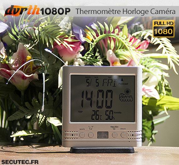 Thermomètre Horloge caméra cachée FHD 1080P sur un bureau