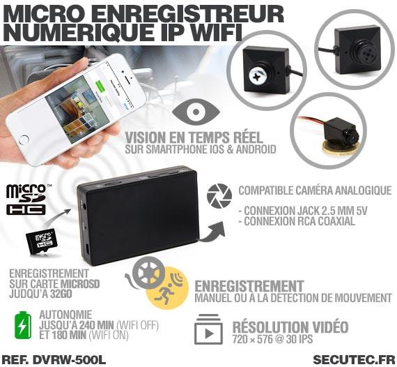 Description Micro enregistreur portable numérique IP Wifi professionnel
