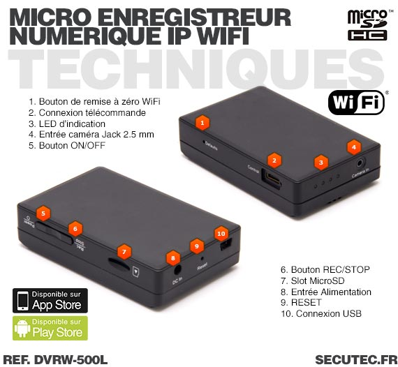 Technique Micro enregistreur portable numérique IP Wifi professionnel