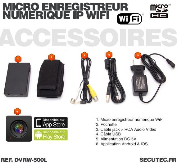 Accessoires Micro enregistreur portable numérique IP Wifi professionnel