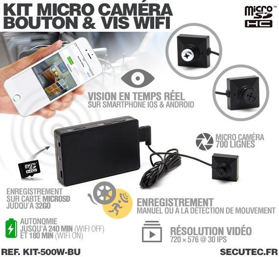 Description Kit micro caméra bouton / vis avec micro enregistreur IP WiFi