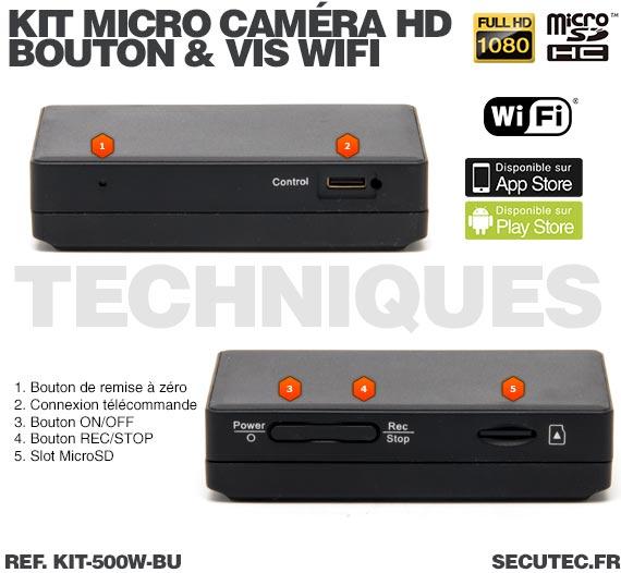 technique Kit micro caméra bouton / vis avec micro enregistreur IP WiFi