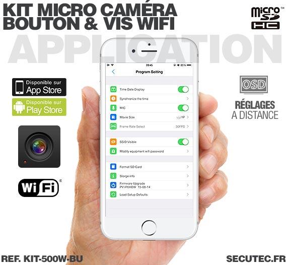 Application iOS Kit micro caméra bouton / vis avec micro enregistreur IP WiFi