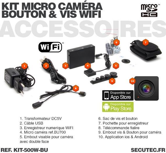 Accessoires Kit micro caméra bouton / vis avec micro enregistreur IP WiFi