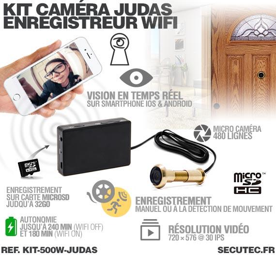 Fonctionnement Kit camera cachée judas avec micro enregistreur IP WiFi