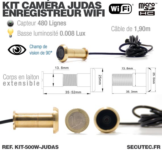 Description Kit camera cachée judas avec micro enregistreur IP WiFi