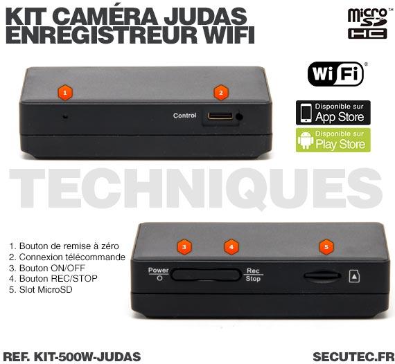 technique Kit camera cachée judas avec micro enregistreur IP WiFi