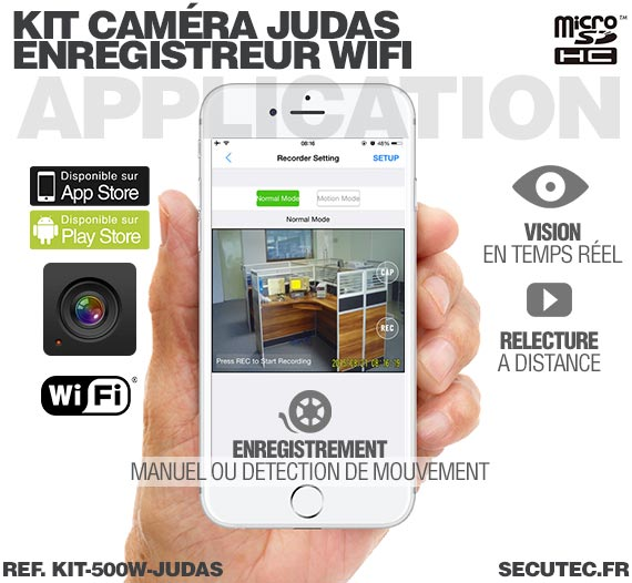 Application Android Kit camera cachée judas avec micro enregistreur IP WiFi