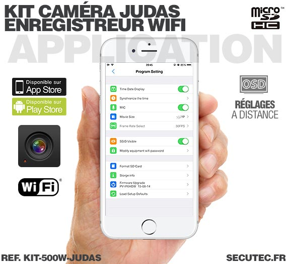 Application iOS Kit camera cachée judas avec micro enregistreur IP WiFi