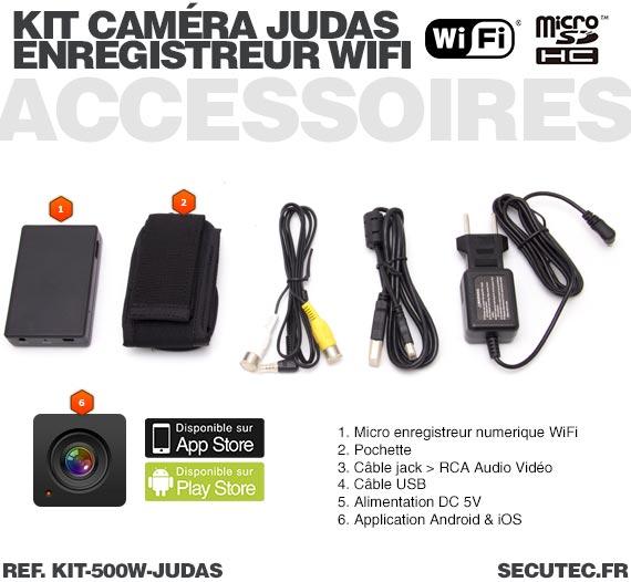Accessoires Kit camera cachée judas avec micro enregistreur IP WiFi