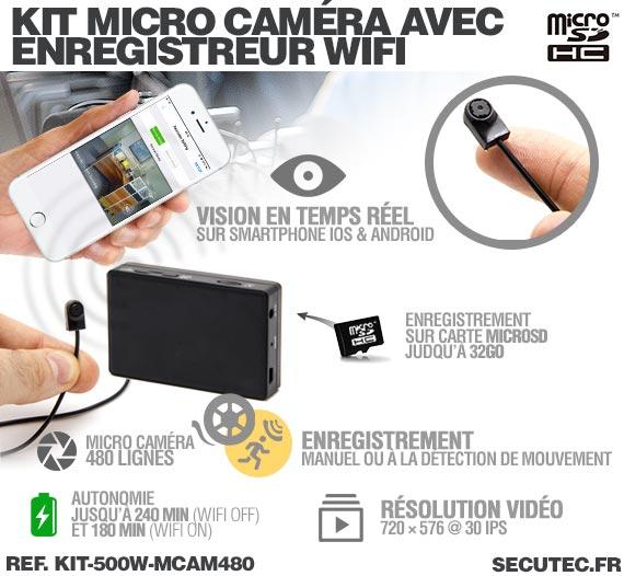 Fonctionnement Kit micro caméra avec micro enregistreur IP WiFi