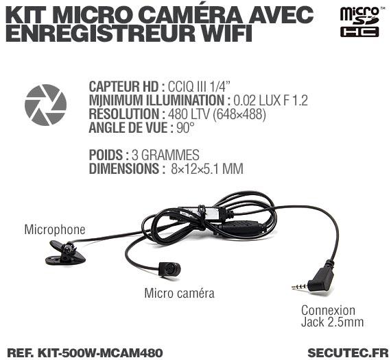 Description Kit micro caméra avec micro enregistreur IP WiFi