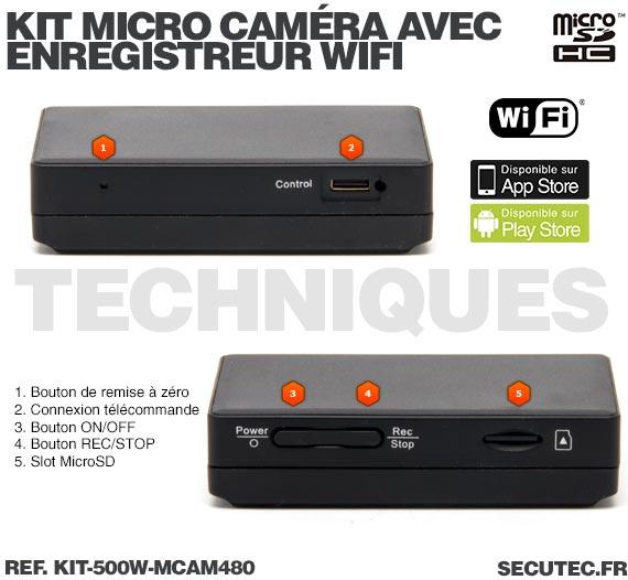 Technique Kit micro caméra avec micro enregistreur IP WiFi