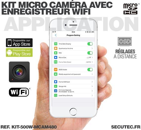Application iOS Kit micro caméra avec micro enregistreur IP WiFi