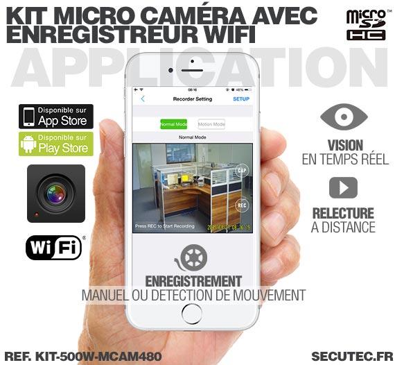 Application Android Kit micro caméra avec micro enregistreur IP WiFi
