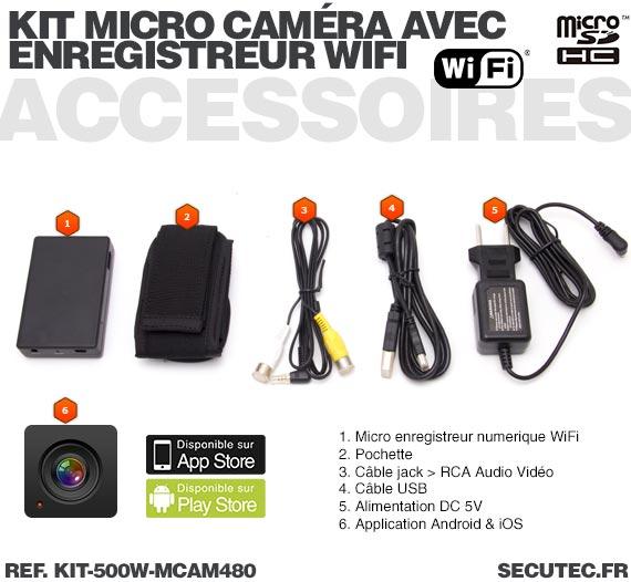 Accessoires Kit micro caméra avec micro enregistreur IP WiFi