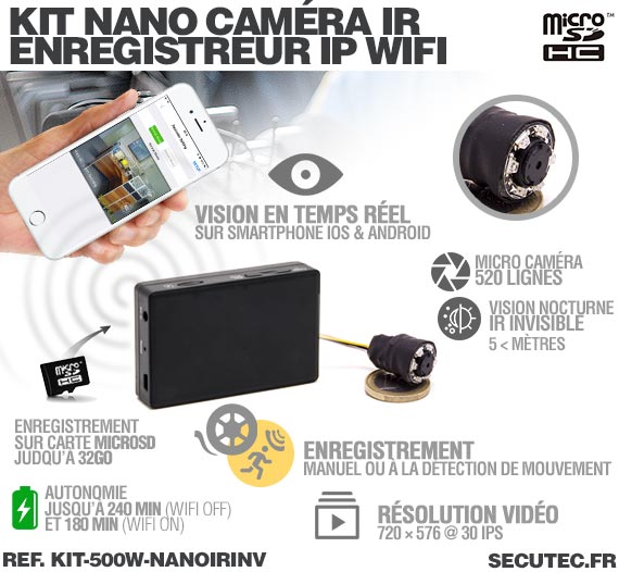 Fonctionnement Kit nano caméra infrarouge avec micro enregistreur IP WiFi