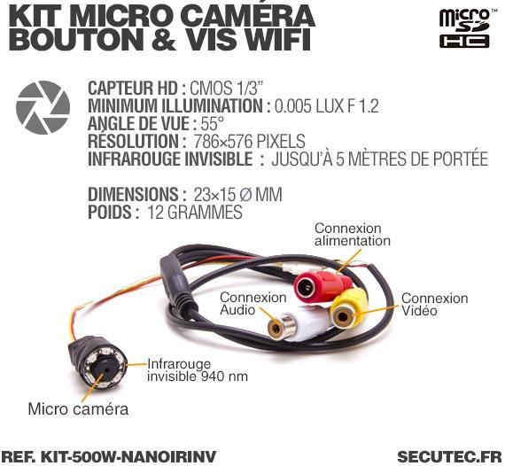 description Kit nano caméra infrarouge avec micro enregistreur IP WiFi