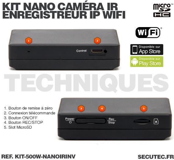 Techniques Kit nano caméra infrarouge avec micro enregistreur IP WiFi