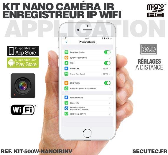 Application iOS Kit nano caméra infrarouge avec micro enregistreur IP WiFi