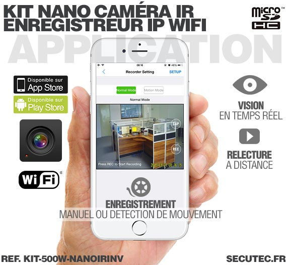 Application Android Kit nano caméra infrarouge avec micro enregistreur IP WiFi