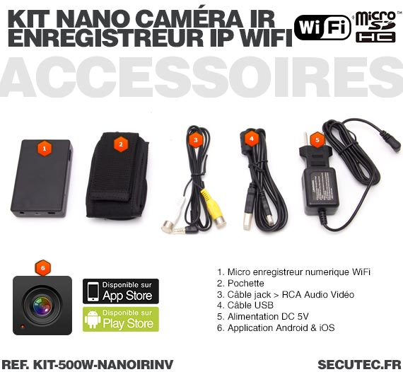Accessoires Kit nano caméra infrarouge avec micro enregistreur IP WiFi
