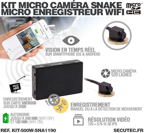 Fonctionnement Kit micro caméra carrée avec micro enregistreur IP WiFi