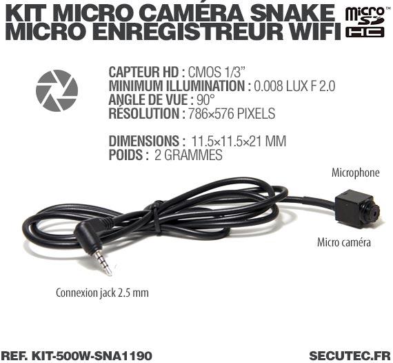 Description Kit micro caméra carrée avec micro enregistreur IP WiFi
