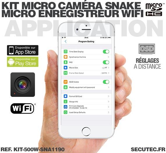 Application Android Kit micro caméra carrée avec micro enregistreur IP WiFi