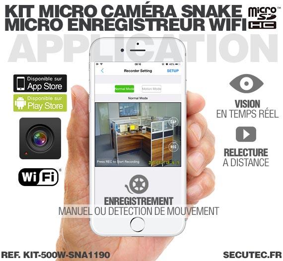 Application iOS Kit micro caméra carrée avec micro enregistreur IP WiFi