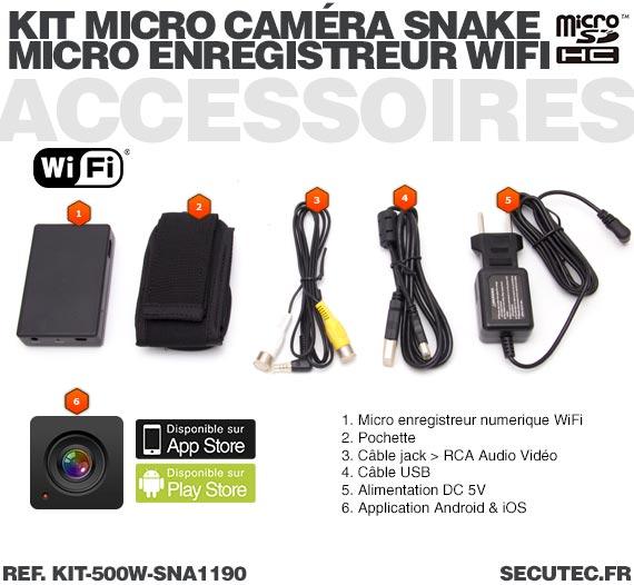 Accessoires Kit micro caméra carrée avec micro enregistreur IP WiFi