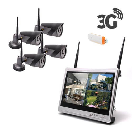 Kit vidéosurveillance 3G avec 4 caméra wifi HD 720P