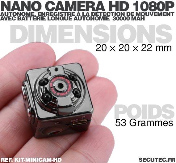 Kit mini caméra HD 1080P dimensions