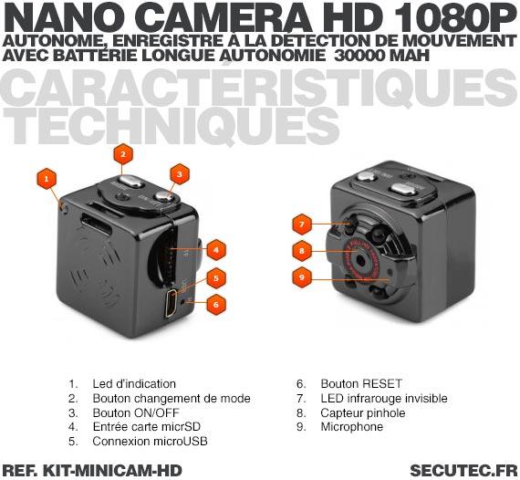 Kit mini caméra HD 1080P caracteristiques