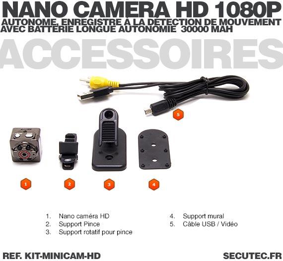 Kit mini caméra HD 1080P accessoires camera