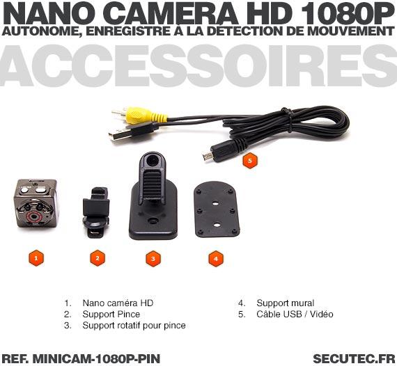 Mini caméra HD 1080P pinhole vision nocturne autonome avec enregistrement micro SDHC