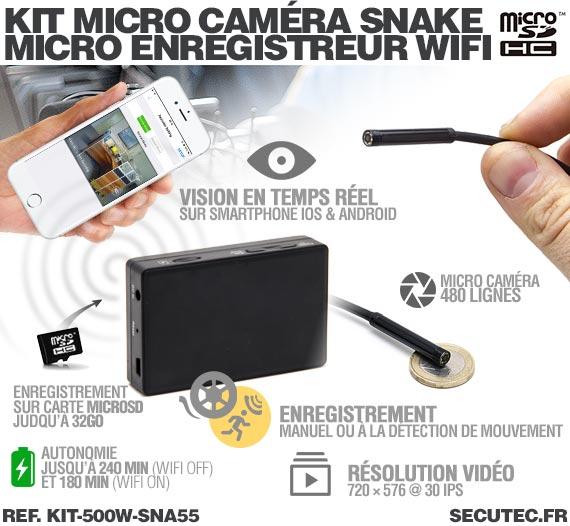 Description Kit micro caméra d'inspection avec micro enregistreur IP WiFi sur carte microSD