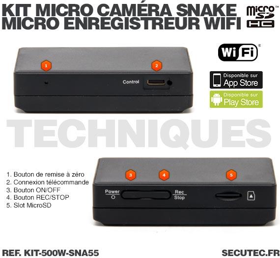 Techniques Kit micro caméra d'inspection avec micro enregistreur IP WiFi sur carte microSD
