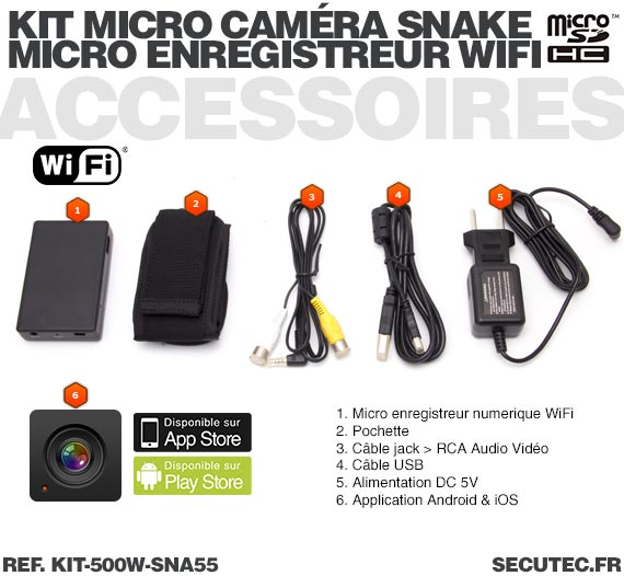 Accessoires Kit micro caméra d'inspection avec micro enregistreur IP WiFi sur carte microSD