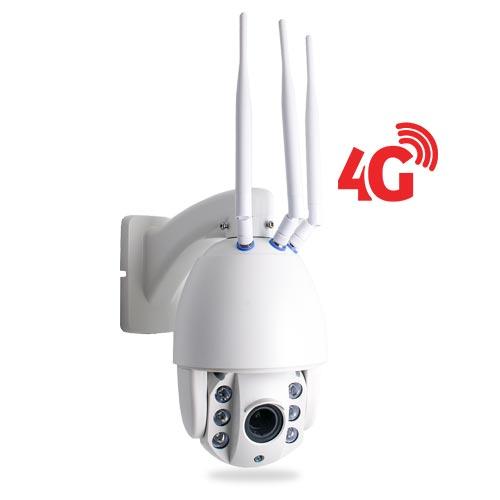 Caméra PTZ HD 1080P IP Wi-Fi GSM 4G, Infrarouge, Zoom X4, pilotable à distance via iPhone, Android et PC