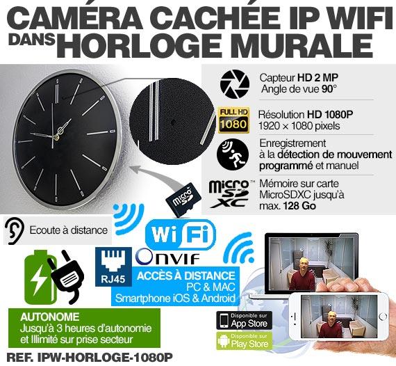Fonctionnement Horloge murale caméra cachée IP WIFI HD 1080P