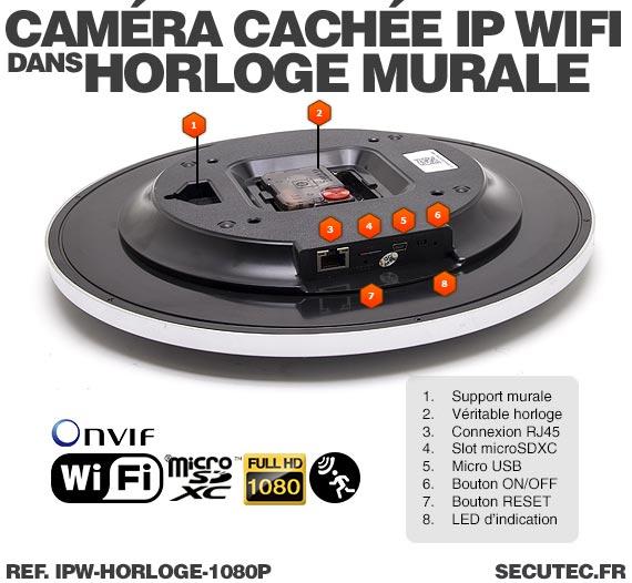 Description Horloge murale caméra cachée IP WIFI HD 1080P